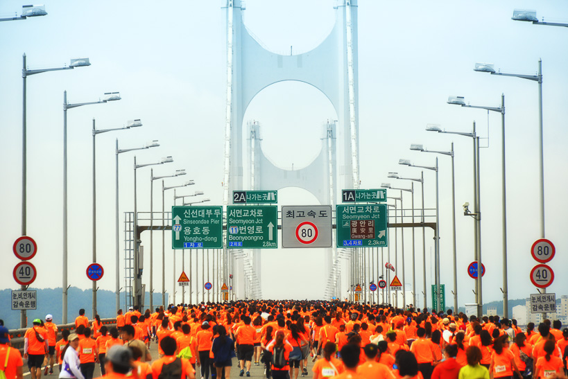 Gwangan Bridge Race Signs d Storming the Bridge: Busan Hosts Koreas Greatest Race