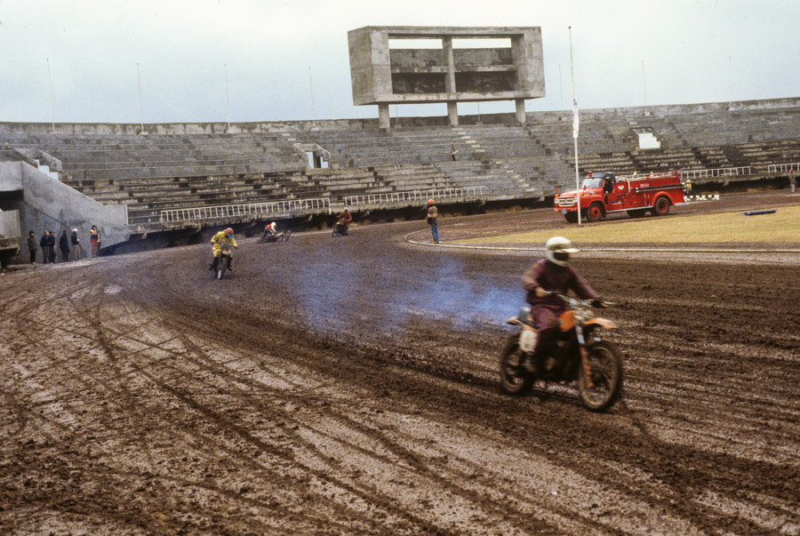 Dirtbike club racing at Jeju stadium Echoes of Jeju: A Photo Essay of Korean Island Life in 1979 (Part 2)
