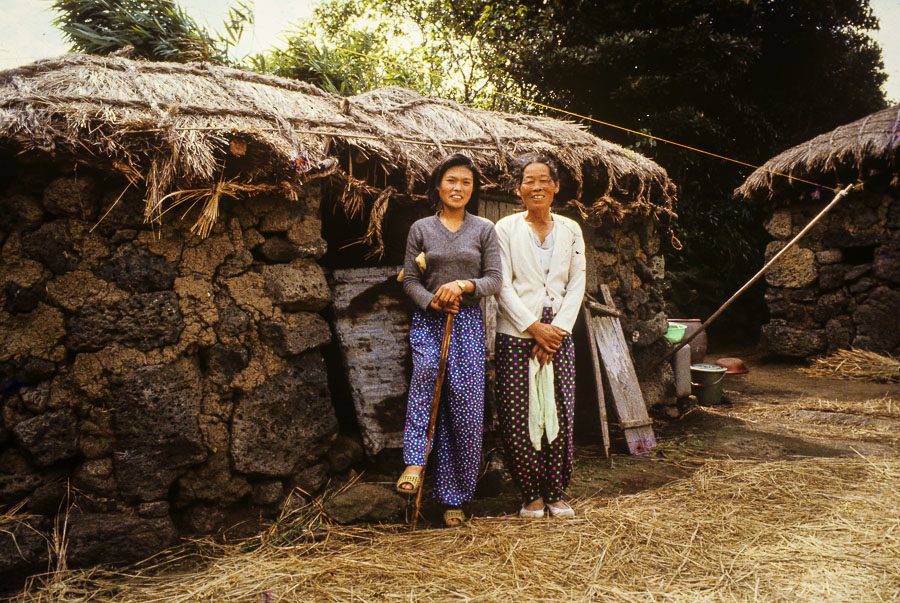 Locals in front of choga jip or Jeju stone house Echoes of Jeju: A Photo Essay of Korean Island Life in 1979 (Part 1)
