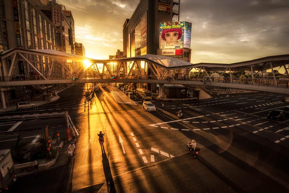 Japan, Osaka, sunlight, intersection, sun, rays