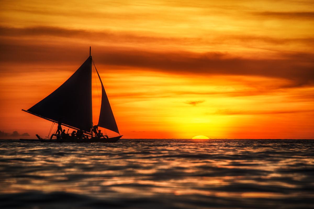 Boracay, Island, Philippines, sunset, boat, sailboat, orange, sky, clouds, water, ocean, sea