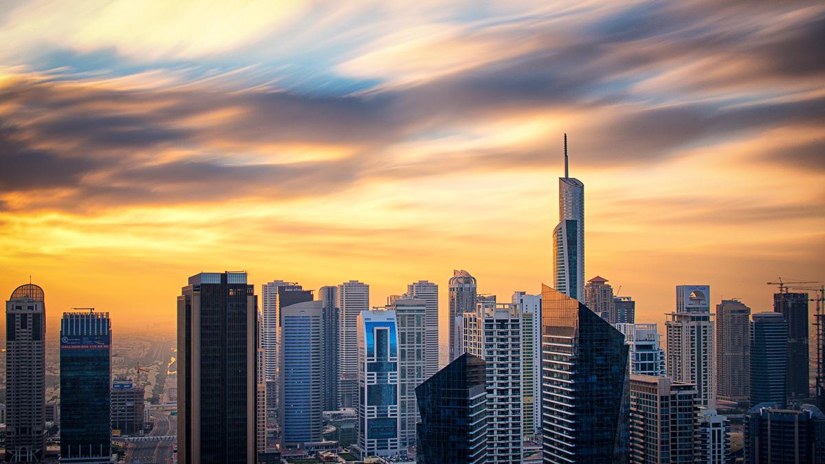Dubai, Jumeirah Lakes Towers, UAE, long exposure, sunrise, clouds