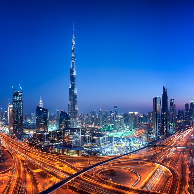 Adventure, Burj Kalifa, Dubai, King Zayed Road, Middle East, Nomad Within, Peter DeMarco, UAE, United Arab Emirates, cityscape, highway, light trails, night, photography, sunset, travel