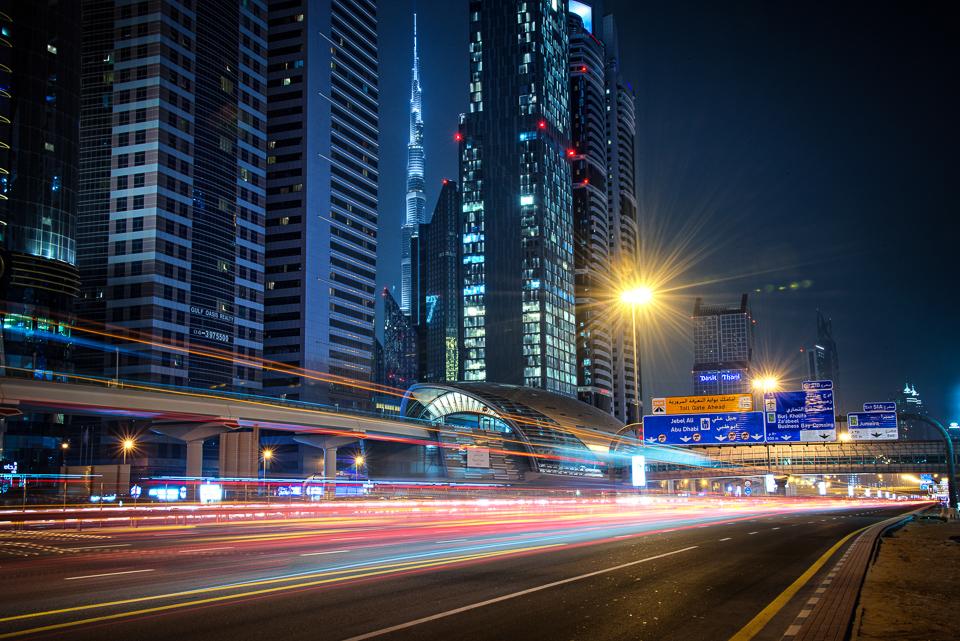 Adventure, Burj Kalifa, Dubai, King Zayed Road, Middle East, Nomad Within, Peter DeMarco, UAE, United Arab Emirates, cityscape, highway, light trails, metro, night, photography, station, subway, sunset, travel