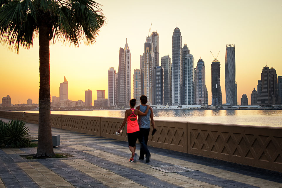 Adventure, Dubai, Marina, Middle East, Nomad Within, Palm Jumeirah, Peter DeMarco, UAE, United Arab Emirates, active, cityscape, couple, palm tree, photography, sunrise, travel, walk, warm