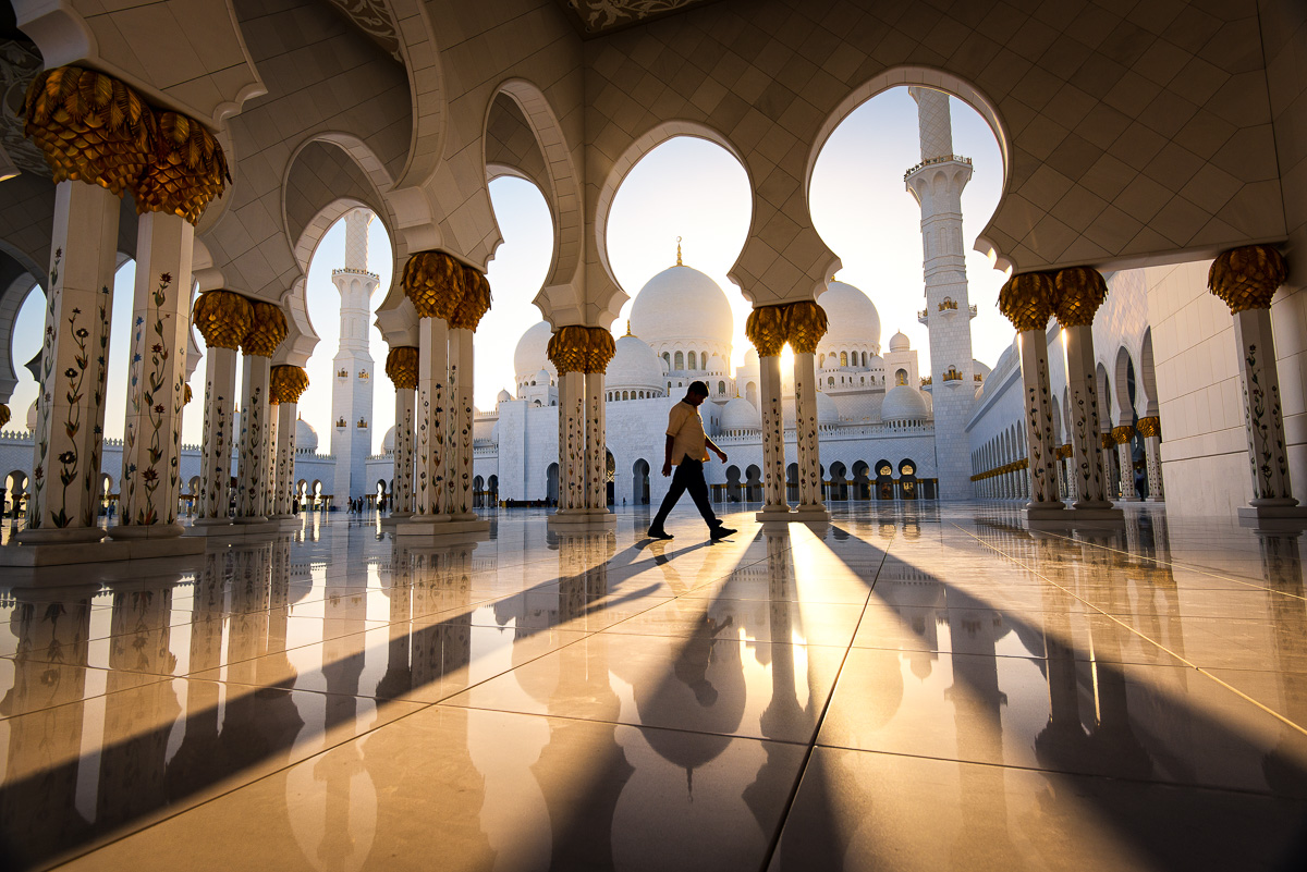 Abu Dhabi, Adventure, Middle East, Nomad Within, Peter DeMarco, Sheikh Zayed bin Sultan al-Nahyan Mosque, UAE, United Arab Emirates, architecture, man, photography, reflection, shadows, staff, sunlight, sunset, travel, walk