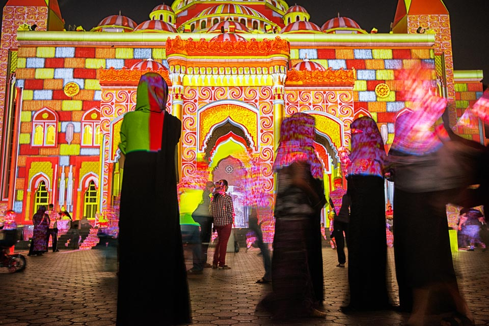 Adventure, Light Festival, Middle East, Muslim, Nomad Within, Peter DeMarco, Sharjah, UAE, United Arab Emirates, colorful, lights, mosque, night, photography, travel