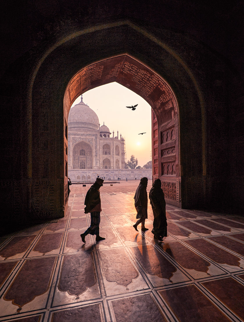 India, Peter DeMarco, Taj Majal, architecture, asia, birds, photography, shadow, sunlight, sunrise, travel, travelphotography