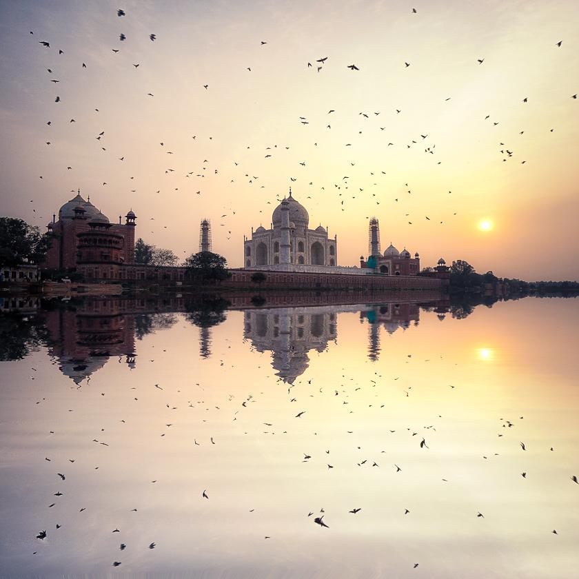 Taj Majal Sunset River Reflection